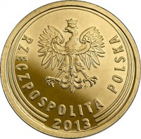 obverse of 5 Groszy (2013 - 2015) coin with Y# 925 from Poland. Inscription: RZECZPOSPOLITA POLSKA 2013