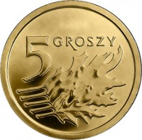 reverse of 5 Groszy (2013 - 2015) coin with Y# 925 from Poland. Inscription: 5 GROSZY
