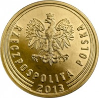 obverse of 2 Grosze (2013 - 2015) coin with Y# 924 from Poland. Inscription: RZECZPOSPOLITA POLSKA 2013