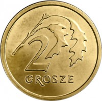 reverse of 2 Grosze (2013 - 2015) coin with Y# 924 from Poland. Inscription: 2 GROSZE