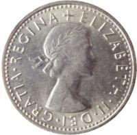 obverse of 6 Pence - Elizabeth II - Without BRITT:OMN; 1'st Portrait (1954 - 1970) coin with KM# 903 from United Kingdom. Inscription: ELIZABETH · II · DEI · GRATIA · REGINA +