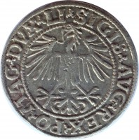 reverse of 1/2 Grosz - Sigismund II August (1545 - 1569) coin from Lithuania. Inscription: SIGIS · AVG · REX · PO · MAG · DVX · L ·