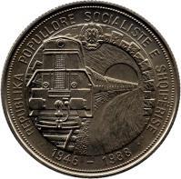 obverse of 5 Lekë - Albanian Railroads (1988) coin with KM# 61 from Albania. Inscription: REPUBLIKA POPULLORE SOCIALISTE E SHQIPËRISE · 1946 - 1988 ·