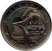 reverse of 5 Lekë - Albanian Railroads (1988) coin with KM# 61 from Albania. Inscription: ALBANIA 1988 5 LEKË