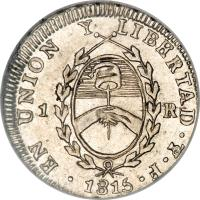 obverse of 1 Real (1813 - 1815) coin with KM# 2 from Argentina.