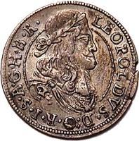obverse of 3 Kreuzer - Leopold I - Hall mint (1667 - 1690) coin with KM# 1245 from Austria. Inscription: LEOPOLDVS · D:G · R · I · S · A · G · B · R ·