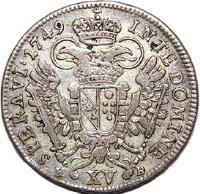 reverse of 15 Kreuzer - Franz I (1747 - 1750) coin with KM# 2025 from Austria.