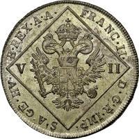 obverse of 7 Kreuzer - Franz II (1802) coin with KM# 2129 from Austria. Inscription: FRANC · II · D · G · R · IMP · S · A · GE · HV · B · REX · A · A · V II