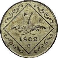 reverse of 7 Kreuzer - Franz II (1802) coin with KM# 2129 from Austria. Inscription: 7 1802 · C