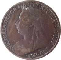obverse of 1 Penny - Victoria - 3'rd Portrait (1895 - 1901) coin with KM# 790 from United Kingdom. Inscription: VICTORIA · DEI · GRA · BRITT · REGINA · FID · DEF · IND · IMP ·