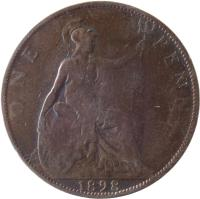 reverse of 1 Penny - Victoria - 3'rd Portrait (1895 - 1901) coin with KM# 790 from United Kingdom. Inscription: ONE PENNY 1900