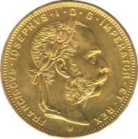 obverse of 8 Florins / 20 Francs - Franz Joseph I (1870 - 1892) coin with KM# 2269 from Austria. Inscription: FRANCISCVS · IOSEPHVS · I · D · G · IMPERATOR · ET · REX *