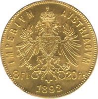 reverse of 8 Florins / 20 Francs - Franz Joseph I (1870 - 1892) coin with KM# 2269 from Austria. Inscription: IMPERIVM AVSTRIACVM 8Fl · 20Fr 1892