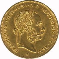 obverse of 4 Florins / 10 Francs - Franz Joseph I (1870 - 1892) coin with KM# 2260 from Austria. Inscription: FRANCISCUS IOSEPHUS I D.G.C.IMPERATOR .ET.REX.