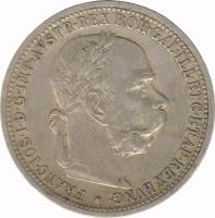 obverse of 1 Corona - Franz Joseph I (1892 - 1907) coin with KM# 2804 from Austria. Inscription: FRANC · IOS · I · D · G · IMP · AVSTR · REX BOH · GAL · ILL · ETC · ETAP · REX HVNG ·