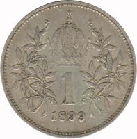 reverse of 1 Corona - Franz Joseph I (1892 - 1907) coin with KM# 2804 from Austria. Inscription: 1 1893