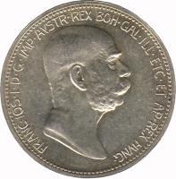 obverse of 1 Corona - Franz Joseph I - Reign (1908) coin with KM# 2808 from Austria. Inscription: FRANC · IOS · I · D · G · IMP · AVSTR · REX · BOH · GAL · ILL · ETC · ET AP · REX · HVNG