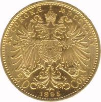 reverse of 20 Corona - Franz Joseph I (1892 - 1905) coin with KM# 2806 from Austria. Inscription: XX CORONÆ MDCCCXCIII 20 1893 COR.
