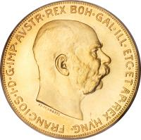 obverse of 100 Corona - Franz Joseph I (1909 - 1915) coin with KM# 2819 from Austria.