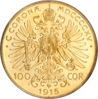 reverse of 100 Corona - Franz Joseph I (1909 - 1915) coin with KM# 2819 from Austria.