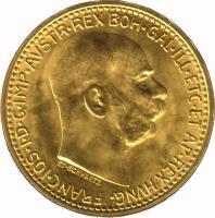 obverse of 10 Corona - Franz Joseph I (1909 - 1912) coin with KM# 2816 from Austria. Inscription: FRANC.JOS.I.D.G.IMP.AVSTR.REX BOH.GAL.ILL.ETC.ET AP.REX HVNG.