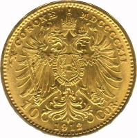 reverse of 10 Corona - Franz Joseph I (1909 - 1912) coin with KM# 2816 from Austria. Inscription: X CORONÆ MDCCCCXII 10 COR. *1912*