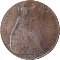 reverse of 1 Penny - Edward VII (1902 - 1910) coin with KM# 794 from United Kingdom. Inscription: ONE PENNY 1906