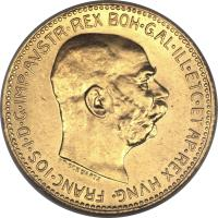 obverse of 20 Corona - Franz Joseph I (1909 - 1916) coin with KM# 2818 from Austria. Inscription: FRANC · IOS · I · D · G · IMP · AVSTR · REX BOH · GAL · ILL · ETC · ET AP · REX HVNG ·
