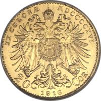 reverse of 20 Corona - Franz Joseph I (1909 - 1916) coin with KM# 2818 from Austria. Inscription: XX CORONÆ MDCCCCXV 20 1915 COR.