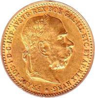 obverse of 10 Corona - Franz Joseph I (1892 - 1906) coin with KM# 2805 from Austria. Inscription: FRANC · IOS · I · D · G · IMP · AVSTR · REX · BOH · GAL · ILL · ETC · ET · AP · REX · HVNG