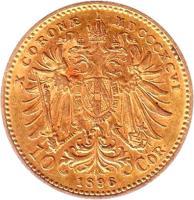 reverse of 10 Corona - Franz Joseph I (1892 - 1906) coin with KM# 2805 from Austria. Inscription: X CORONÆ MDCCCXCVI 10 1896 COR.