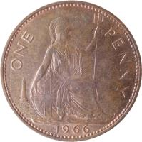 reverse of 1 Penny - Elizabeth II - Without BRITT:OMN; 1'st Portrait (1954 - 1970) coin with KM# 897 from United Kingdom. Inscription: ONE PENNY 1964