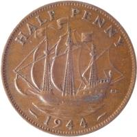 reverse of 1/2 Penny - George VI - With IND:IMP (1937 - 1948) coin with KM# 844 from United Kingdom. Inscription: HALF PENNY HP 1944