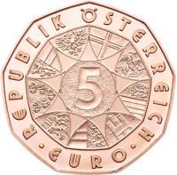 reverse of 5 Euro - Arctic Adventure (2014) coin with KM# 3231 from Austria. Inscription: REPUBLIK ÖSTERREICH 5 · EURO ·