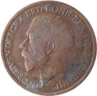 obverse of 1/2 Penny - George V (1911 - 1925) coin with KM# 809 from United Kingdom. Inscription: GEORGIVS V DEI GRA:BRITT:OMN:REX FID:DEF:IND:IMP