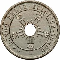 obverse of 20 Centimes - Leopold II (1909) coin with KM# 14 from Belgian Congo. Inscription: **CONGO BELGE · BELGISH-CONGO