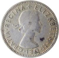 obverse of 1 Shilling - Elizabeth II - English crest; Without BRITT:OMN; 1'st Portrait (1954 - 1970) coin with KM# 904 from United Kingdom. Inscription: + ELIZABETH · II · DEI · GRATIA · REGINA