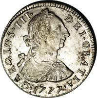 obverse of 2 Reales - Carlos III - Colonial Milled Coinage (1773 - 1789) coin with KM# 53 from Bolivia. Inscription: CAROLUS. III. DEI. GRATIA. 1774.