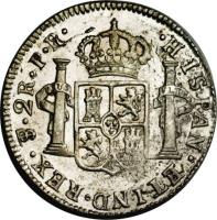 reverse of 2 Reales - Carlos III - Colonial Milled Coinage (1773 - 1789) coin with KM# 53 from Bolivia. Inscription: .HISPAN. ET IND. REX. PTS. 2R. J.R.