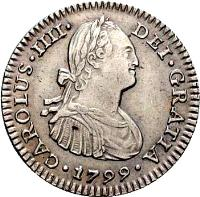 obverse of 1 Real - Carlos IV - Colonial Milled Coinage (1791 - 1809) coin with KM# 70 from Bolivia. Inscription: CAROLUS · IIII · DEI · GRATIA · 1801