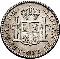 reverse of 1 Real - Carlos IV - Colonial Milled Coinage (1791 - 1809) coin with KM# 70 from Bolivia. Inscription: HISPAN · ET · IND · REX · TPS · 1R · P · P