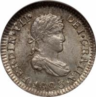 obverse of 1/2 Real - Fernando VII - Colonial Milled Coinage (1814 - 1825) coin with KM# 90 from Bolivia. Inscription: FERDIN.VII.DEI.GRATIA.