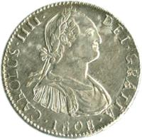 obverse of 2 Reales - Carlos IV - Colonial Milled Coinage (1791 - 1808) coin with KM# 71 from Bolivia. Inscription: CAROLUS · IIII · DEI · GRATIA ·