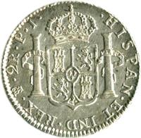 reverse of 2 Reales - Carlos IV - Colonial Milled Coinage (1791 - 1808) coin with KM# 71 from Bolivia. Inscription: HISPAN · ET IND · REX