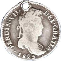 obverse of 1 Real - Fernando VII - Colonial Milled Coinage (1813 - 1825) coin with KM# 87 from Bolivia. Inscription: FERDIN · VII · DEI · GRATIA