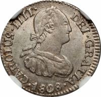 obverse of 1/2 Real - Carlos IV (1791 - 1809) coin with KM# 69 from Bolivia. Inscription: CAROLUS IIII DEI GRATIA 1808