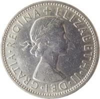 obverse of 2 Shillings - Elizabeth II - Without BRITT:OMN; 1'st Portrait (1954 - 1970) coin with KM# 906 from United Kingdom. Inscription: + ELIZABETH · II · DEI · GRATIA · REGINA