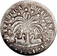 reverse of 2 Soles (1859 - 1863) coin with KM# 135 from Bolivia. Inscription: REPUBLICA BOLIVIANA 10 Ds 20 GS 1860 POTOSI F.J