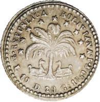reverse of 1/2 Sol (1859 - 1863) coin with KM# 133 from Bolivia. Inscription: LIBRE POR LA CONSTITUCION (PESO 25G in 133.1, 25G in 133.2
