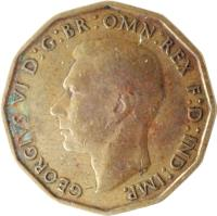 obverse of 3 Pence - George VI - With IND:IMP (1937 - 1948) coin with KM# 849 from United Kingdom. Inscription: GEORGIVS VI D:G:BR:OMN:REX F:D:IND:IMP.